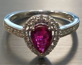 Platinum ruby & diamond ring App $11,440