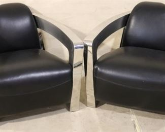 Lazzaro leather and chrome chairs