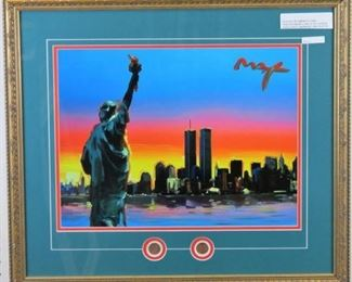 Statue of Liberty with coins giclee by Peter Max