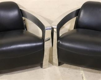 Lazzaro Chrome and Leather Chairs