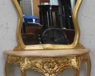 Gilded French console w/ mirror