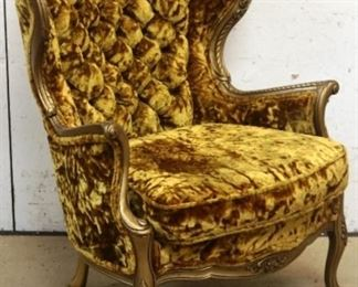 Vintage carved & tufted wing chair