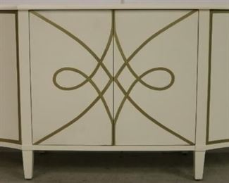 White console with gold trim