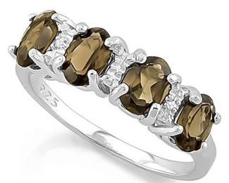 Smokey topaz .925 sterling ring sz 7