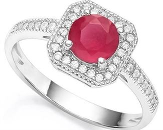Ruby and white sapphire .925 sterling ring sz 8