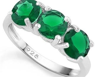 Emerald .925 sterling ring sz 7