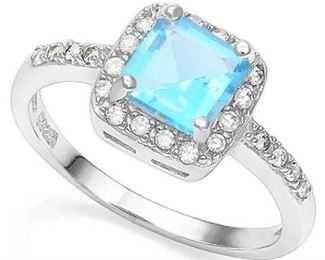 Blue Topaz .925 sterling ring sz 7