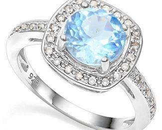 Baby swiss blue topaz .925 sterling ring sz 8