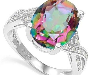 Mystic Gemstone .925 sterling ring sz 6