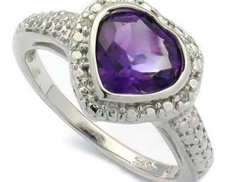 Amethyst & Dia. Platinum over .925 sterling sz 7