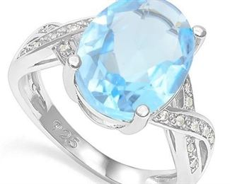 Baby swiss blue topaz .925 sterling ring sz 7