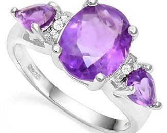 Amethyst .925 sterling ring sz 8