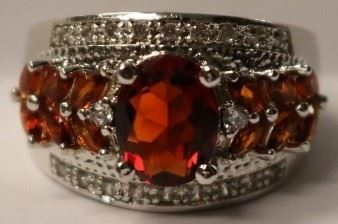 Garnet Gemstone .925 sterling ring sz 7