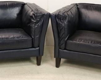 Pair Lazzaro leather arm chairs