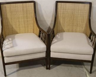Rattan & cane pair arm chairs