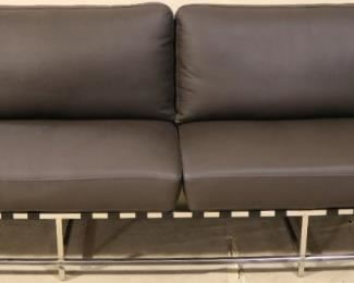 Lazzaro Leather and chrome sofa
