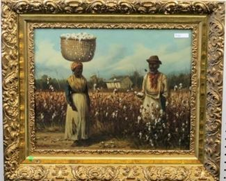 Man & Woman in cotton field by W A Walker