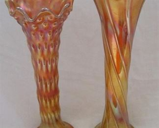 Carnival glass vases