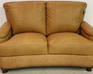Leather Italia Hutton Loveseat in Saddle