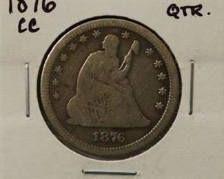 1876 Carson City Seated Liberty Quarter