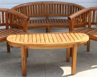 Teak Chairs with bench and table