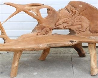 Teak Carved Drift wood bench