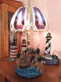 Touch lamp, lighthouse pump soap container, lighthouse figures, ceramic waterfall