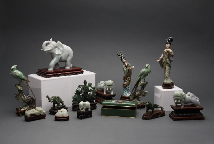 Assortment of Asian items including multiple jadeite figures.