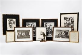 Collection of Thomas Hart Benton signed limited lithographs, collection of hand written Benton letters, and two original Benton personalized sketches/doodles.