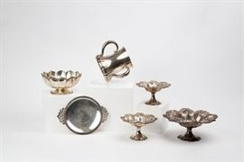 Collection of sterling silver items including several Tiffany pieces.
