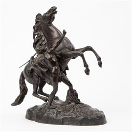 """1: """"HORSES OF MARLY"""" BRONZE AFTER GUILLAUME COUSTOU"""