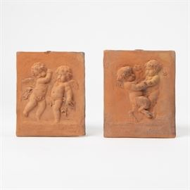 2: TWO TERRACOTTA PUTTO PLAQUES AFTER CLODION