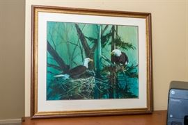 "Tom Palmerton - ""Nesting Eagles"" painting 1980's. One of Midwest's most beloved artist. Studied at the Kansas City Art Institute from 1955-59."