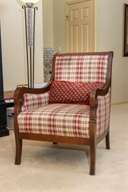 Plaid upholstered chair.