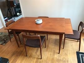 J.L. Moller Danish expandable teak dining room table