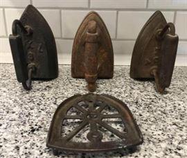 Lot of 3 Sad Irons Trivet