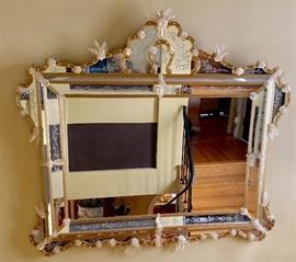 Huge Murano Venetian Glass statement mirror. Available for presale - please text or email your best offer.