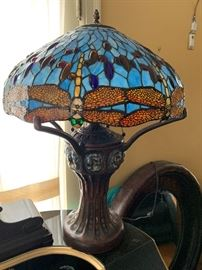Pair of huge dragonfly Tiffany style lamps.