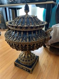 Large and heavy bejeweled urn