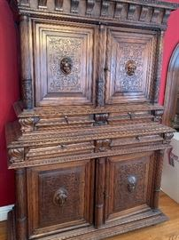 Amazing French oak mythological carved cabinet -- comes in two pieces for easy moving. Measures 85 inches tall by 60 inches wide, by 24 inches deep. Available for presale - email or text your best offer for consideration.