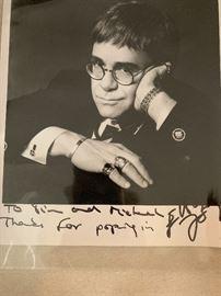 Elton John autographed photo