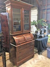 Antique  Cylinder Rolltop Desk with Bookcase