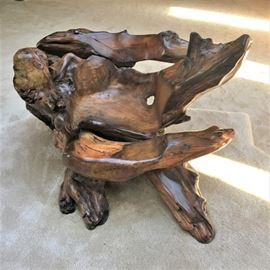 Amazing Cypress tree chair purchased from a Carmel Gallery. Measures 52 inches wide by 36 inches deep by 34 inches at the tallest point.