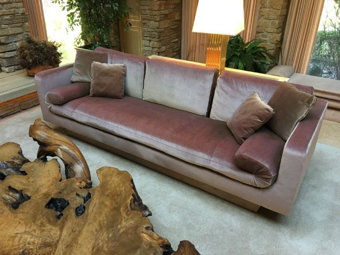 One of two sofas - each measures 92 inches long by 34 inches deep by 24 inches high to the top of the armrest and 31 inches high to the top of the back cushions. Fabric has some fading and wear but great bones overall.