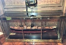 Boardroom size ship builder's model. Brass case sold separately.