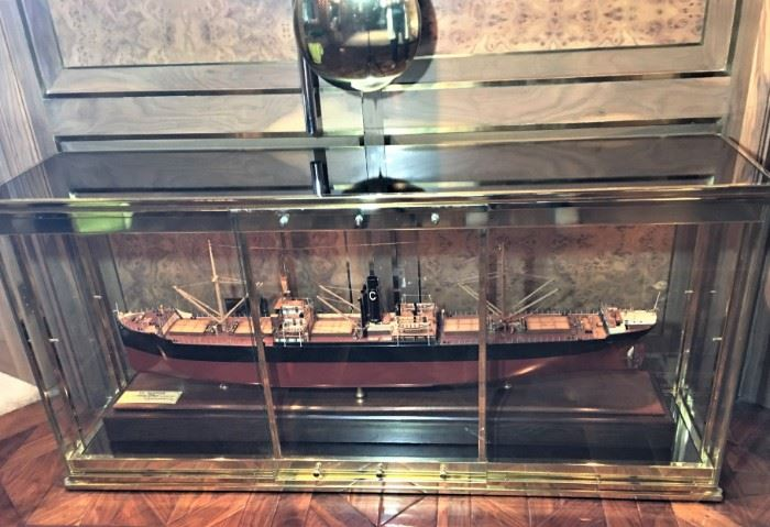 Boardroom size ship builder's model. Brass case sold separately.