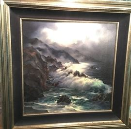 Original seascape painting by Rosemary Minor. Frame measures 34 inches square, image area measures 24 inches square.