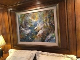 Large Jack Laycox original landscape painting. Frame measures 57 inches wide by 45 inches high.