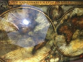 World Map coffee table attributed to Maison Jansen.