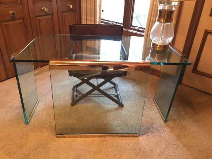 Glass and brass waterfall desk attributed to Leon Rosen for Pace.